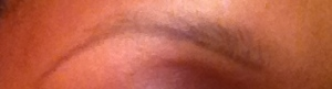 Pencil line at the bottom of the brow