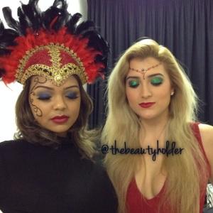 Lauren and Amina on set